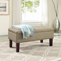 Better Homes and Gardens Grayson Ottoman Storage Bench in navy to match headboard - $129