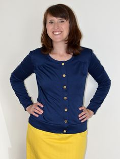 Today I'm going to give the low-down on my second version of the Jenna cardi pattern, which also happens to be second garment I made fr. Navy, Sewing, Sweatshirts, Sweaters, Inspiration, Fashion, Boss, Dressmaking, Biblical Inspiration
