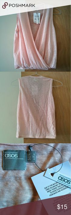 ASOS wrap blouse Light pink top in a light knit, gathered at the bottom front. Never wore it! ASOS Tops Blouses