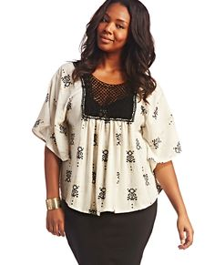 Aztec & Crochet Peasant Top | Wet Seal Plus