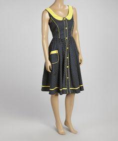Look what I found on #zulily! Blue & Yellow Peter Pan Collar Sleeveless Dress - Women #zulilyfinds