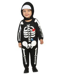 Déguisement bébé squelette garçon Halloween : Ce déguisement pour enfants est composé d'une combinaison et d'une cagoule (chaussures non incluses).Reprenant l'aspect d'un squelette, la combinaison est...