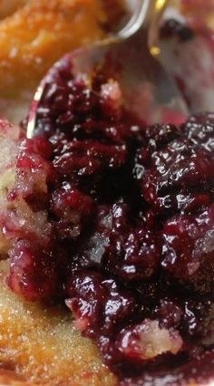 "Blackberry Buckle ~ Buckles are similar to cobblers, but called a buckle because the berries are sprinkled on top and the cake ""buckles"" under the weight. An original recipe from Betty Crocker's 1950's Cook Book. It's definitely an ""oldie but a goodie."""