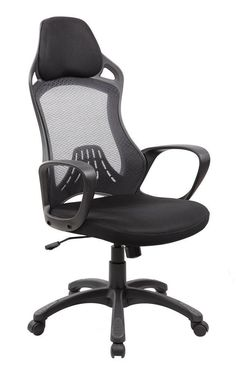 Modern Furniture High Back Mesh and PU Executive and Managerial Computer Desk Swivel Office Chair with Headrest, Black