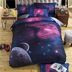 Galaxy bedding sets Twin/Queen Size Universe Outer Space Themed Bedspread Bed Linen Bed Sheets Duvet Cover Set Who like it ? Visit us Cheap Bedding Sets, Queen Bedding Sets, Luxury Bedding Sets, Comforter Sets, Unique Bedding, King Comforter, Cosmos, Duvet Bedding, Linen Bedding