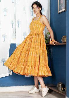 BUTTERSCOTCH NOTCH DRESS Trendy Dresses, Summer Dresses, Dress Outfits, Fashion Dresses, Tiered Dress, Festival Wear, Yellow Dress, Indian Dresses, Designing Women