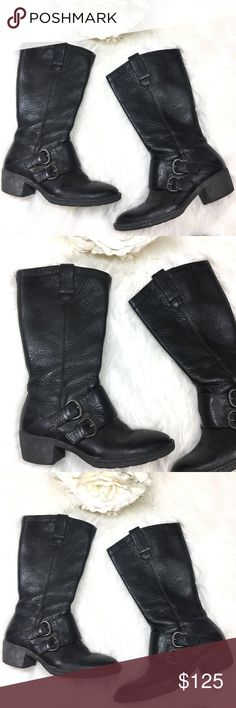 Born Black Leather Cowboy Style Boots Born Black Leather Boots. Real leather. Black leather boots perfect to pair with jeans. Cute cowboy style. Thick leather boots super comfy. Cute black on black style for a sleek look. svrs20/11.17/ Born Shoes Combat & Moto Boots