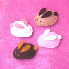 Handmade Felt Magnets  Baby Bunnies by yuzucha on Etsy