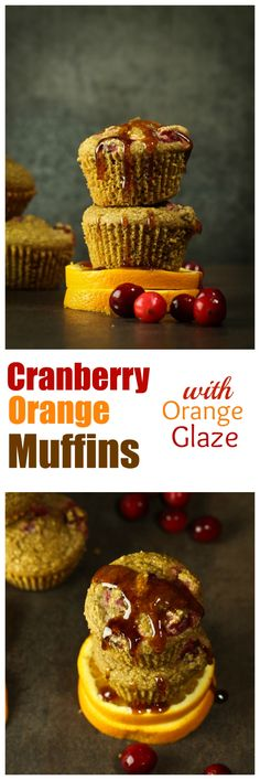 Vegan Cranberry and Fresh Orange Juice-Infused Muffins that are gluten-free, oil-free and made with whole grain oat flour and potato starch for the most delicious fruity muffins. Topped with a delicious sweet and citrusy orange glaze to complete them. Oil-free, nut-free and gluten-free and just 8 ingredients!