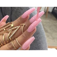 Long pink nails, www.puddycatshoes.com ❤ liked on Polyvore featuring beauty products and nail care