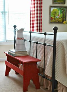 Savvy Southern Style: Mid Summer Farmhouse Style Guest Room -- love that little red bench and I think we could build that! Country Farmhouse, Country Decor, Farmhouse Decor, Country Charm, French Country, Farmhouse Curtains, Style Cottage, Red Cottage, Casas Magnolia