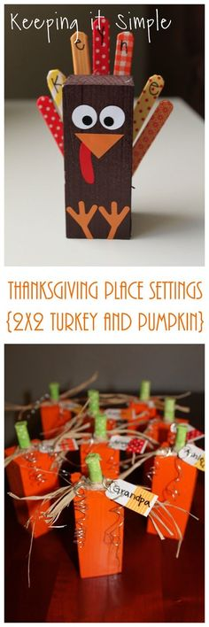 Thanksgiving Place Setting Ideas- 2x2 Wood Turkey and Pumpkin