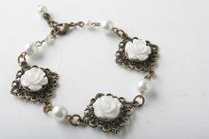 Flower Cabochon And Antique Brass Bracelet - Shabby Chic - White Flowers And White Pearls - White An on Luulla