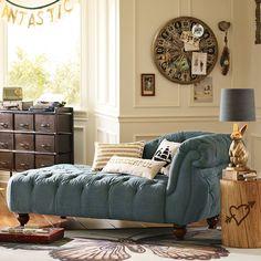 Line We Love: Emily + Meritt for PBteen.  Love this denim chaise lounge!