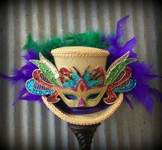 Mardi Gras Hat, Mascquerade Hat, Mini Top hat, Alice in Wonderland Mini Top Hat… Mardi Gras Attire, Mardi Gras Hats, Tea Party Hats, 60th Birthday, Alice In Wonderland, Captain Hat, Top Hats, Crafty, Mini