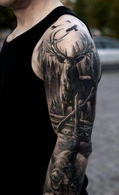 3D Deer sleeve tattoo - 85+ Inspiring Deer Tattoo Designs  <3 <3