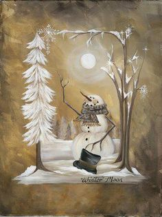 Winter Moon by Musser, Michele Christmas Canvas, Christmas Paintings, Christmas Wood, Primitive Christmas, Christmas Pictures, Vintage Christmas, Christmas Crafts, Xmas, Winter Moon