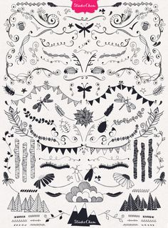 HUGE Hand drawn Nature Pack Elements - Illustrations - 2