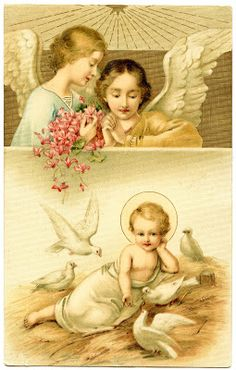 Antique Graphic - Beautiful Baby Jesus, Angels and Doves - The Graphics Fairy