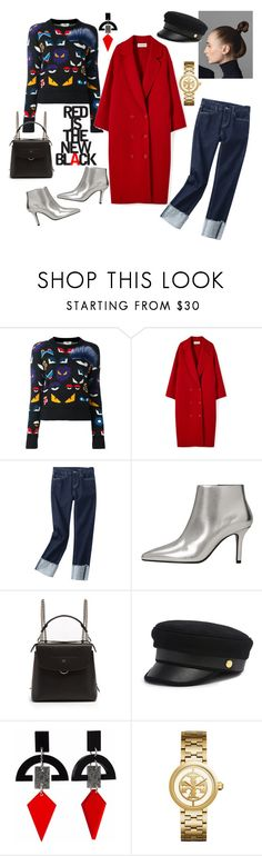 """""""Red is the new black"""" by vintaj ❤ liked on Polyvore featuring Fendi, MANGO, Henri Bendel, Toolally and Tory Burch"""