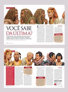 Matéria que fiz para a revista Aventuras na História contando a origem da fofoca. Ilustração: Éber Evangelista.