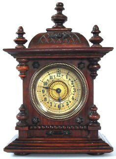 VERY RARE QUAINT JUNGHANS ANTIQUE MINIATURE BRACKET CLOCK MANTEL CLOCK WORKING O