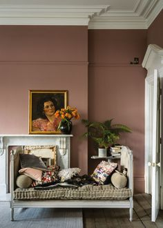 Farrow and Ball 2018 Colour Launch - Sulking Room Pink in a living room Bedroom Color Schemes, Bedroom Paint Colors, Paint Colors For Living Room, Living Room Decor, Colour Schemes, Living Rooms, Paint Colours, Wall Colors, Bedroom Decor