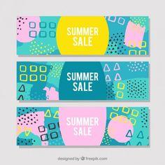 色付きの抽象的な形夏のセールのバナー 無料ベクター