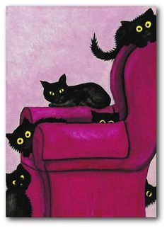 ❥ hot pink black cats favorite chair