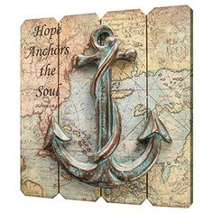 Our inspirational sign presents a message of hope in troubled times from the e book of Hebrews An anchor crafted of polyresin is fastened on a picket sign that presents a antique nautical map. Coastal Wall Decor, Beach House Decor, Vintage Nautical, Nautical Theme, Nautical Anchor, Anchor Crafts, Picket Signs, Beach Signs Wooden, Wall Plaques