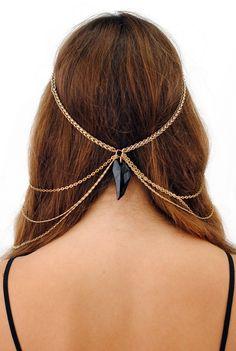 MARIA FRANCESA PEPE Cross & Obsidian Drape Head Chain