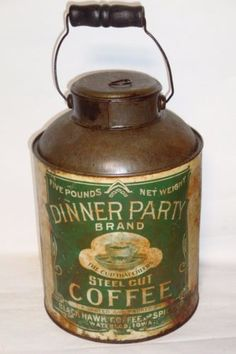 Nice-Old-Rare-Litho-Dinner-Party-Milk-Pail-5Lb-Coffee-Advertising-Coffee-Tin-Can