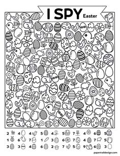 Free Printable I Spy Easter Activity - Paper Trail Design Easter themed I spy activity for kids! Keep kids busy and screen free when your kids say I'm bored or on a rainy day with this free printable. Home Learning, Learning Activities, Kids Learning, Teaching Ideas, Toddler Activities, Preschool Activities, Easter Activities For Children, Easter Games, Easter Crafts