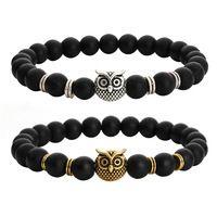 Fashion Silver Antique / Gold Plated Black Agate Agate Bead Bracelets Owl Head Animal Charm Bracelet Men Bracelets Woman F3976