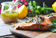 This Garlic and Herb Salmon Marinade is a flavorful and healthy way to enjoy an easy seafood dinner -- in just 15 minutes! Trout Recipes, Seafood Recipes, Recipes Dinner, Dinner Ideas, Grilled Salmon Marinade, Best Grilled Shrimp Recipe, Pecan Crusted Salmon, Grilling Recipes, Cooking Recipes