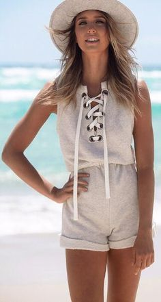 Casual Lace Up Cotton Romper