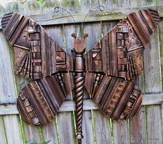 Giant Wooden Recycled Elements and Picture Frame Molding Butterfly Art, Green Art, Repurposed and Upcycled