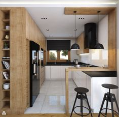 Nice layout at the entrance to the open kitchen - wardrobe on the side of the wardrobe and counter Kitchen Room Design, Kitchen Cabinet Design, Home Decor Kitchen, Kitchen Furniture, Kitchen Interior, Home Kitchens, Küchen Design, House Design, Home Spa Room