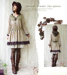 Mori Kei: Natural Flower One-piece  #MoriKei #MoriGirl #JapaneseStreetFashion
