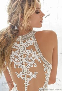 morilee 2018 bridal sleeveless halter jewel neck full embellishment elegant a line wedding dress sheer lace back long train (3) zbv