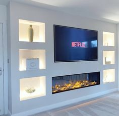 Feature Wall Living Room, Living Room Wall Units, Open Plan Kitchen Living Room, Living Room Decor Fireplace, Living Room Decor Cozy, Home Living Room, Home Room Design, Living Room Designs, Home Renovation