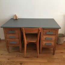 Bureau de comptable vintage et sa chaise meuble vintage petit toit vintage - Customiser un bureau ...