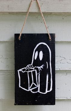 Halloween Wood Sign Ghost Trick or Treat Hand Painted Rustic Door Wall Hanging Wooden Inside Outside Black Decor Art