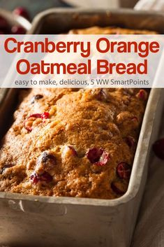 Cranberry Orange Oatmeal Bread A great old-fashioned recipe that dates back to 1969 that is moist and yummy. - A great old-fashioned recipe for Cranberry Orange Oatmeal Bread that dates back to 1969 and turns out moist and yummy! Quick Bread Recipes, Easy Bread, Baking Recipes, Cleaning Recipes, Free Recipes, Cookie Recipes, Bread Cake, Dessert Bread, Poulet General Tao