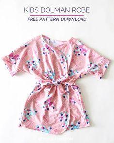 Free pattern: Kids' dolman robe Sewing Projects For Kids, Sewing For Kids, Baby Sewing, Free Sewing, Toddler Sewing Patterns, Sewing Kids Clothes, Kids Patterns, Kids Clothing, Justice Clothing