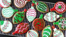 These easy gingerbread cookies are decorated red, green and white with Betty Crocker cookie icing and look like festive Christmas ornaments.