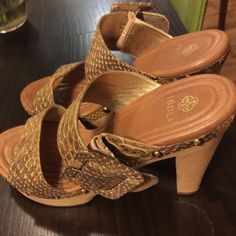 Isola wooden heels with snakeskin straps Isola shoes with wooden base and golden snakeskin strap. Gently used great condition. Isola Shoes Sandals