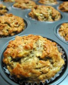 banana oatmeal muffins - making this very second. Added walnuts on top of a few. Subbed applesauce for butter.
