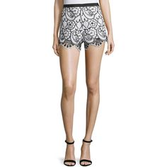Alexis Pia Floral Lace Shorts ($295) ❤ liked on Polyvore featuring shorts, black white embro, scallop hem shorts, flower print shorts, floral printed shorts, floral shorts and lace shorts