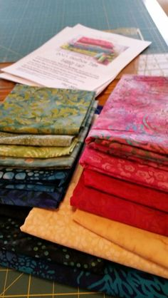 """My Fabric selection for Pat Sloan's BOM 2015 """"Vacation Time"""""""